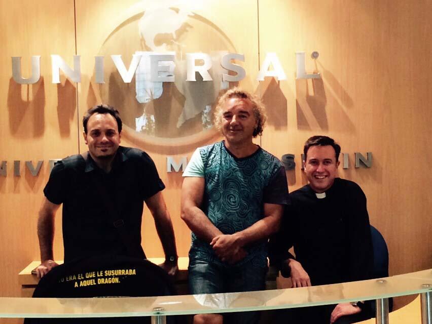 David Santafé, Migueli y Rapo (La Voz del Desierto)  en las oficinas de Universal Music Spain en Madrid