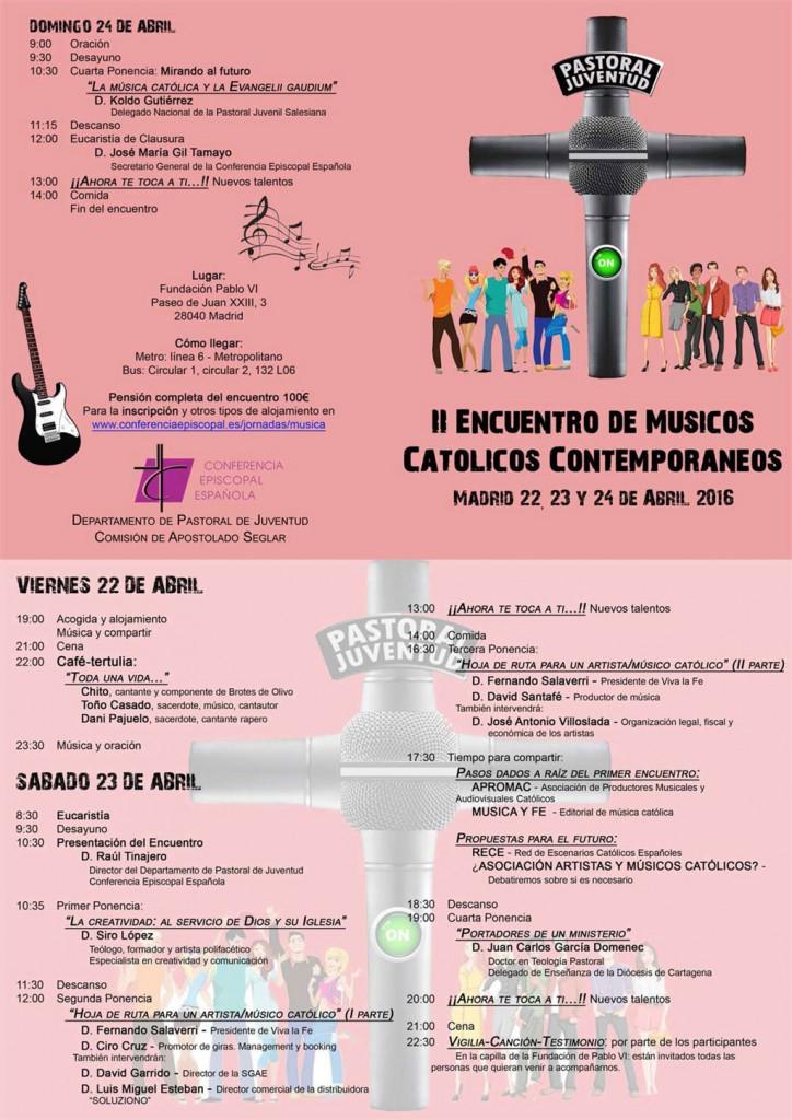 Programa II Encuentro de Musicos Catolicos Contemporaneos